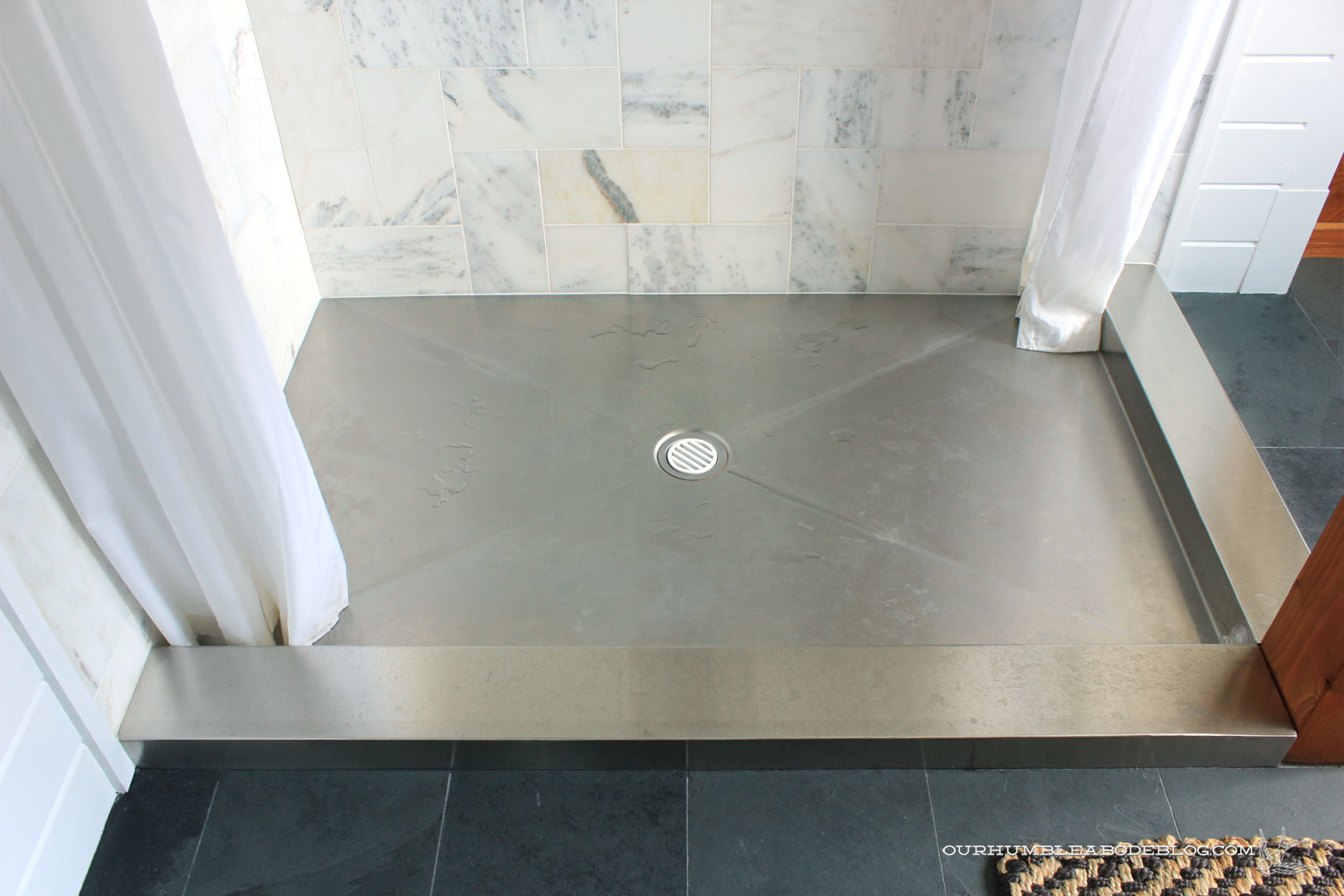 Stainless Steel Shower Floor Pan.Stainless Steel Shower Pan Before Bon Ami Cleaning