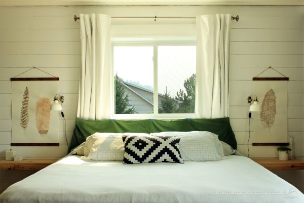 Master-Bedroom-Painted-Accent-Wall-with-Green-Fabric