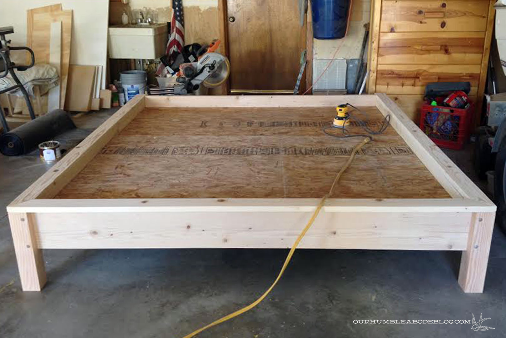 Bed Frame Plans building bed frame assembled in garage build frame ...