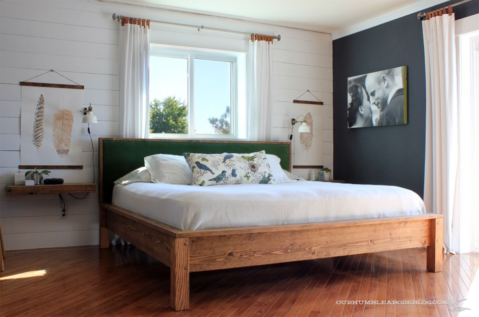 Construct a sleek bed frame: https://ourhumbleabodeblog.com/2015/10/01/king-bed-build-plan/