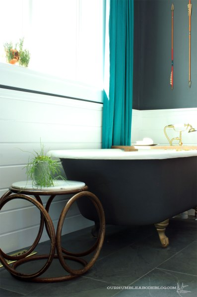Bentwood-Stool-with-Marble-Top-in-Master-Bath
