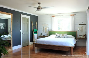 Install a modern ceiling fan, yes they do exist!: https://ourhumbleabodeblog.com/2016/06/21/a-fan-of-fans/