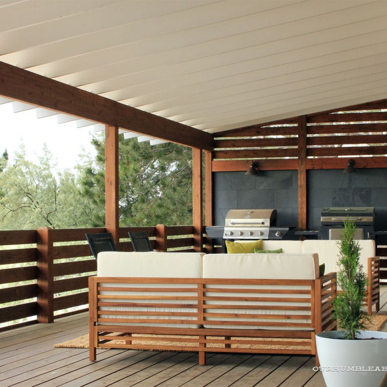 Create a cozy outdoor lounge area: https://ourhumbleabodeblog.com/2016/06/03/a-deck-makeover-cozy-outdoor-lounge-area/