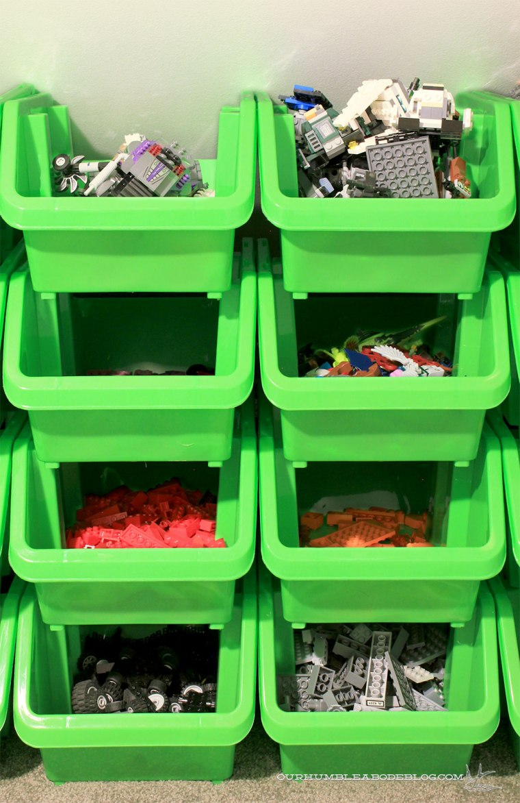 Storing-Legos-in-Stair-Space-Stacking-Bins