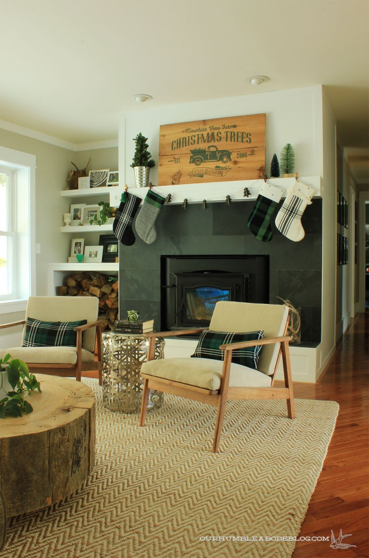 Christmas-Trees-Sign-Above-Mantel