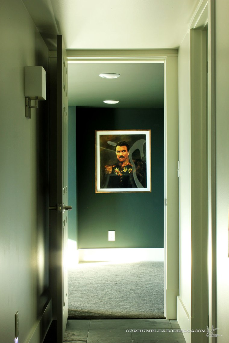 Walnut-Framed-Tom-Selleck-Print-in-Theater-Room