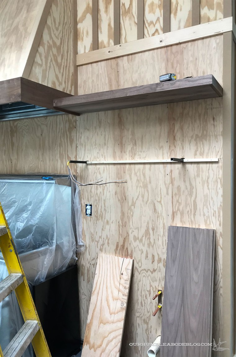 Pool-House-Kitchen-Walnut-Shelves-Install
