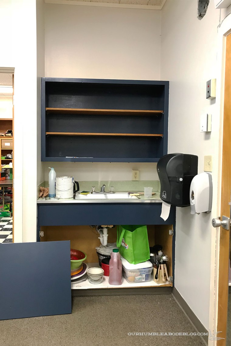 Teacher-Lounge-Painted-Built-in-Cabinet-with-Shelves