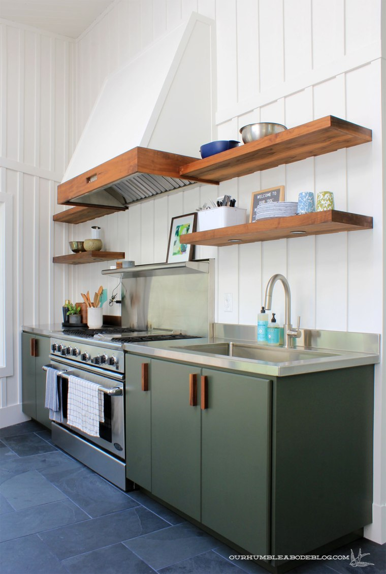 Pool-House-Green-Cabinets-with-Walnut-Handles
