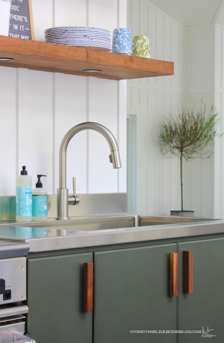 Pool-House-Green-Kitchen-Cabinets-with-Walnut-Handles-Right-Side-Detail