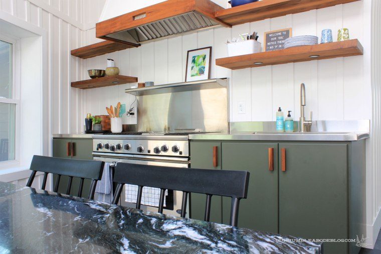 Pool-House-Green-Kitchen-Cabinets-with-Walnut-Handles